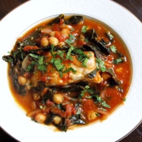 Tomato Poached Cod with Kale and Chickpeas